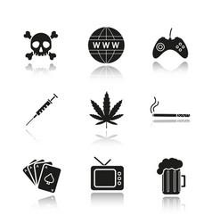 Addictions and bad habits drop shadow black icons vector