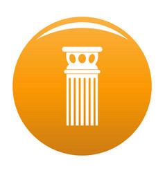 Ancient column icon orange vector