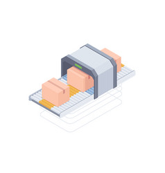 Automated packaging conveyor belt isometric vector