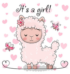Baby shower greeting card with alpaca girl vector