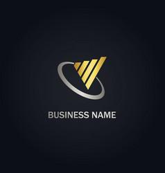 Business chart progress gold logo vector