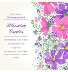 Card with flowers Garden vector
