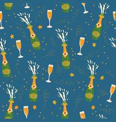 champagne bottles and glasses pattern blue vector image