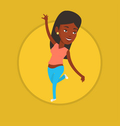 Cheerful african-american woman dancer dancing vector