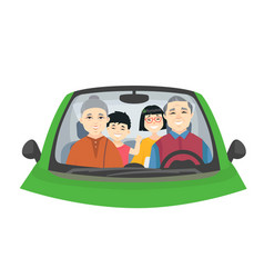 Chinese family on a trip - cartoon people vector