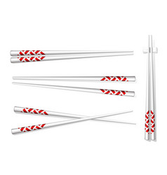 Chopsticks set accessories for sushi isolated on vector