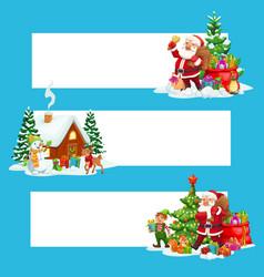 christmas banners xmas gift santa and snowman vector image