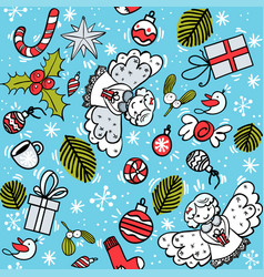 christmas pattern with angel vector image
