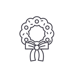 christmas wreath line icon concept christmas vector image