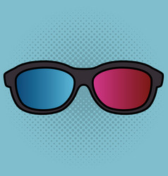 Cinema 3d glasses entertainment icon vector