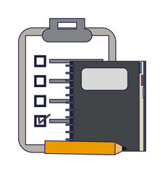 Clipboard and notebook with pencil vector
