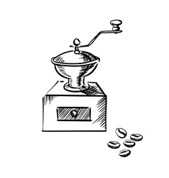 Coffee mill grinder with coffee beans vector image