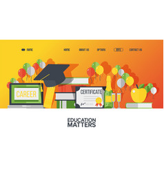 College education website design graduation party vector