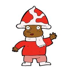 Comic cartoon mushroom man vector