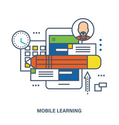 concept of education mobile learning vector image