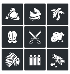 Conquistadors indians and gold icons set vector