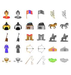 Country mongolia cartoonmonochrom icons in set vector