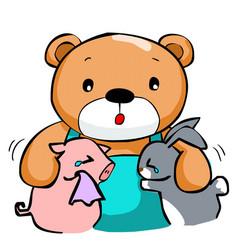 Cute big bear and best friend vector