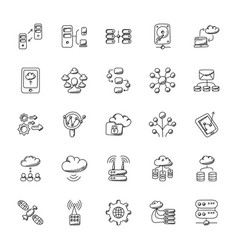 database and storage flat icons set vector image