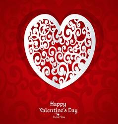 Delicate Valentine card applique vector image vector image