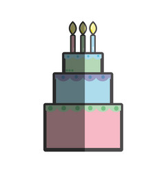 Delicious cake happy birthday celebration vector
