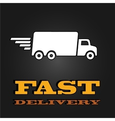 Delivery van poster with fast delivery letters vector