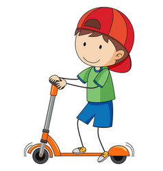 Doodle boy playing kick scooter vector