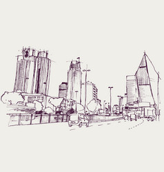 drawing sketch levent district istanbul vector image