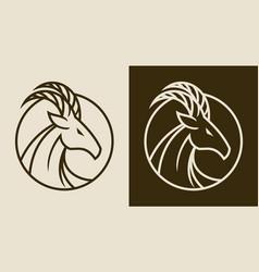 elegant goat head emblem vector image
