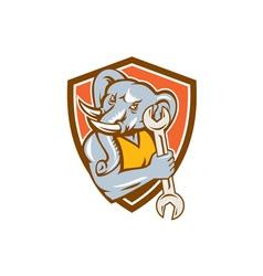 Elephant Mechanic Spanner Mascot Circle Retro vector