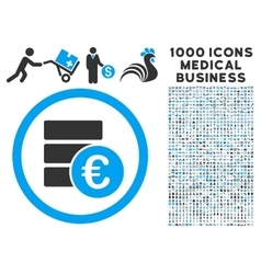 Euro Money Database Icon with 1000 Medical vector image