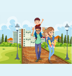 Family take a walk in the park vector