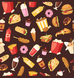 fast food seamless pattern cartoon vector image