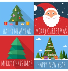 Flat design Christmas card set vector