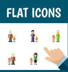 flat icon people set of son grandson grandpa vector image