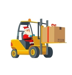 Forklift carries a box Wide flat vector