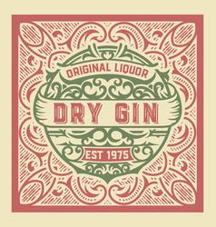 Gin label design vintage style vector