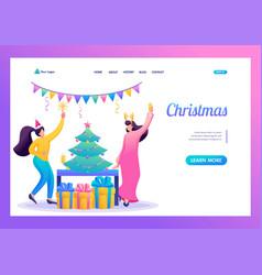 girls have fun near christmas tree flat 2d vector image