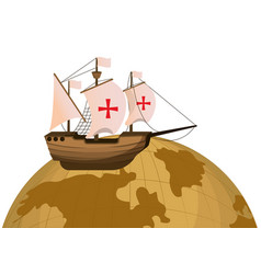 Global planet and wood ship transport vector