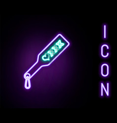 Glowing neon line spanking paddle icon isolated on vector