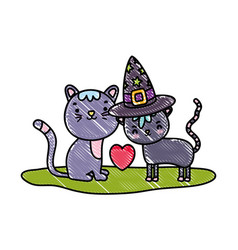 Grated cute couple cat with hat and heart vector
