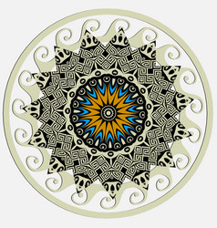 greek round mandala pattern colorful floral vector image