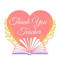 greeting card thank you teacher vector image