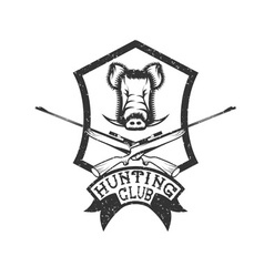 Grunge hunting club crest with carbines and boar vector
