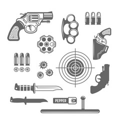 Gun shop shooting club set of elements vector