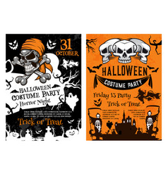 Halloween pumpkin skull skeleton poster template vector