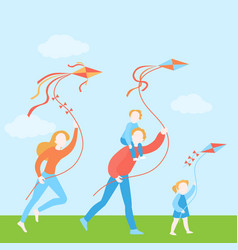 Happy family with kids fly a kite together vector