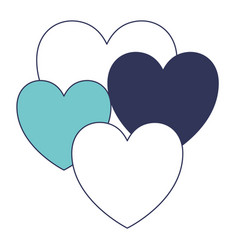 Hearts set in blue color sections silhouette vector