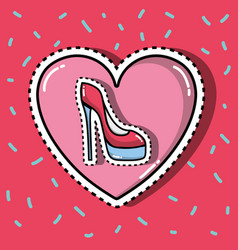 High heel shoes inside heart fashion patches vector