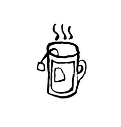 hot tea cup grunge icon tea pack vector image